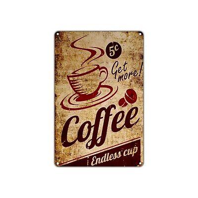 Coffee Endless Cup Wall Decor Art Shop Man Cave Bar Vintage Retro Metal Sign