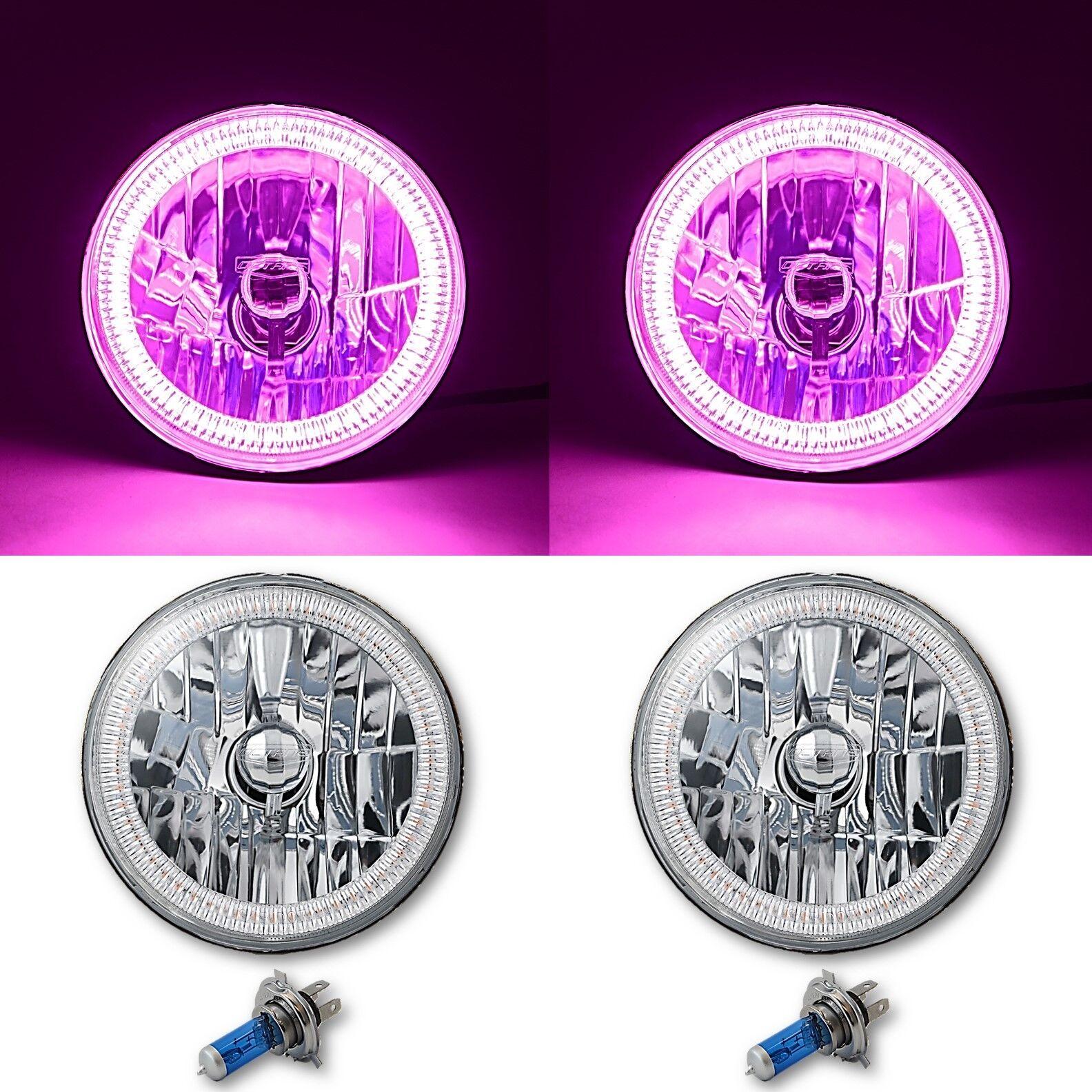 "7"" SMD Pink LED Halo Angel Eye H4 Headlamp Headlight Halogen Light Bulb Pair"
