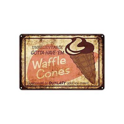 Unbelievable Waffle Cones Ice Cream Vintage Retro Metal Sign Decor Art Shop Bar