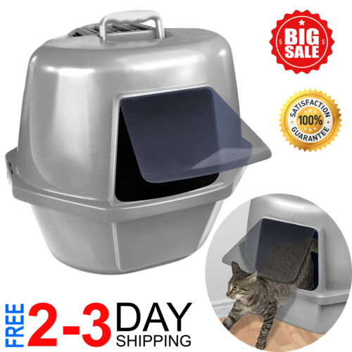 Extra Giant Cat Litter Box Enclosed Sifting Pan Hooded Jumbo Covered Kitty House
