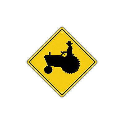 Tractor Traffic Farm Crossing Traffic Novelty Notice Aluminum Metal Sign
