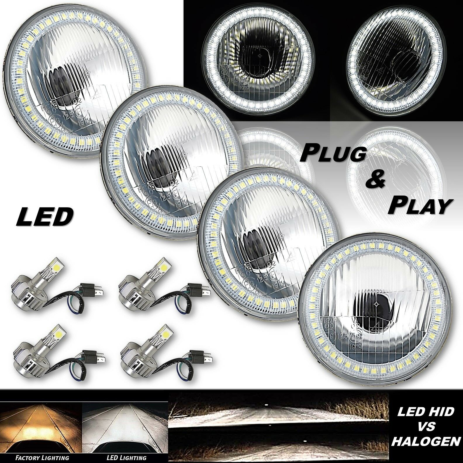 "5-3/4"" Stock H4 White SMD Angel Eye Halo Headlight w/ 360° LED Light Bulb Set"