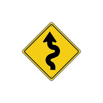 Turn Traffic Sign (Left Winding Road with Sharp Turn Symbol Metal Aluminum Novelty Traffic)