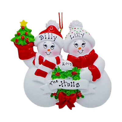 [NAME PERSONALIZED Snow Sweethearts Family of 2 Christmas Ornament 2020 Gift </Title]