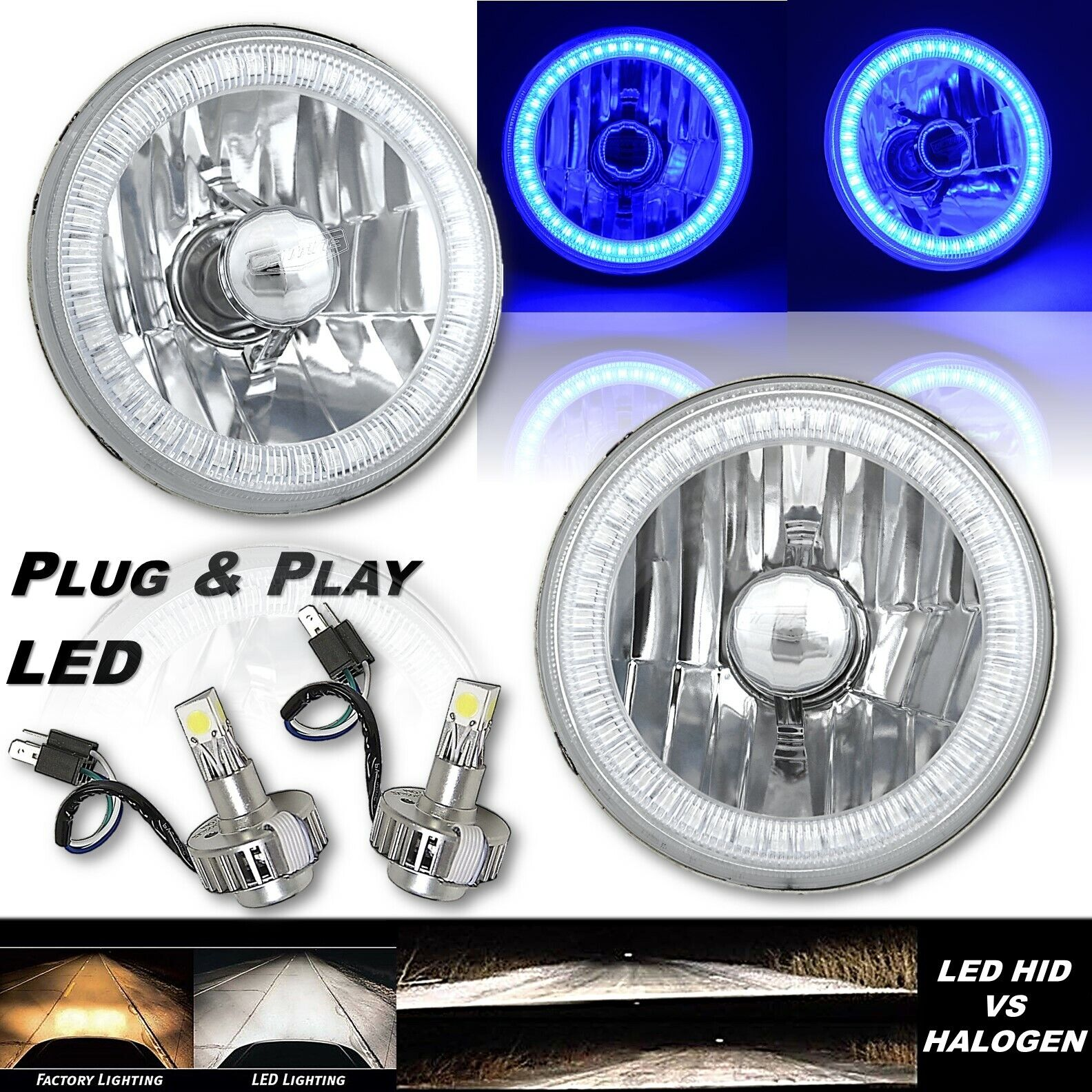 "5-3/4"" Blue SMD LED Halo Angel Eye Crystal Clear Headlight & 6k LED Bulb Pair"