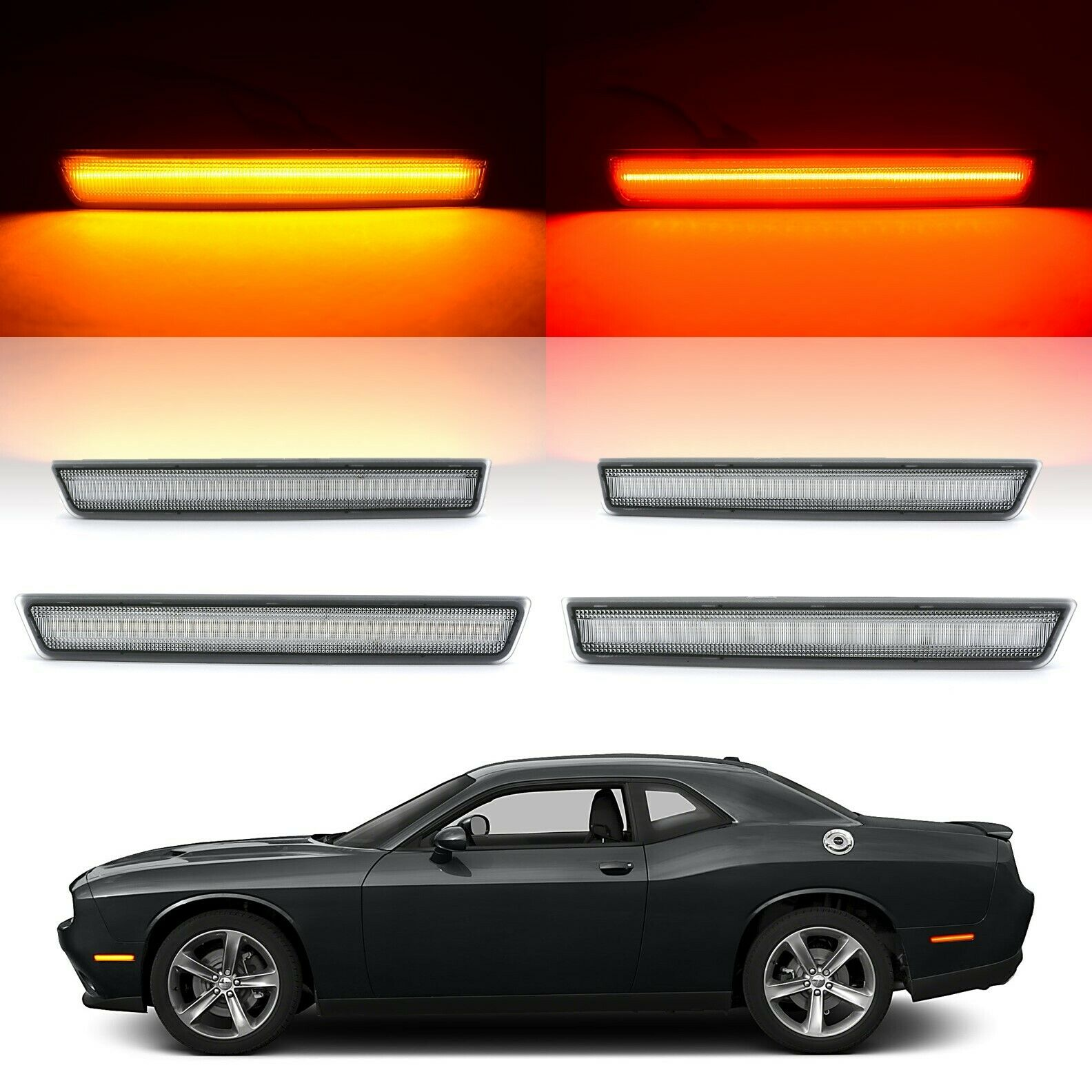 Clear Front & Rear LED Side Marker Light Lenses For 2015-2018 Dodge Challenger