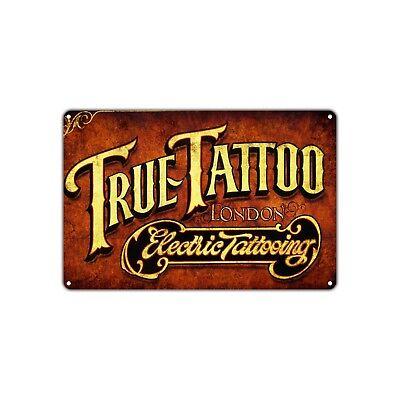 True Tattoo Electric Tattooing Wall Art Decor Shop Bar Vintage Retro Metal Sign