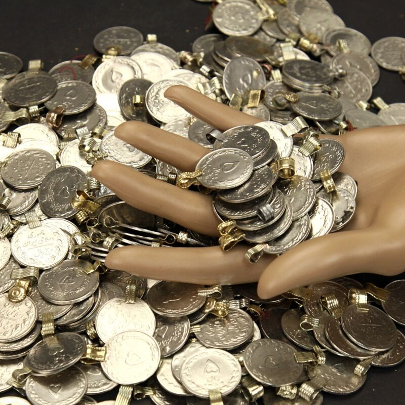 100 real *Heart* COINS Tribal BellyDance ATS Kuchi (( polished )) HEART