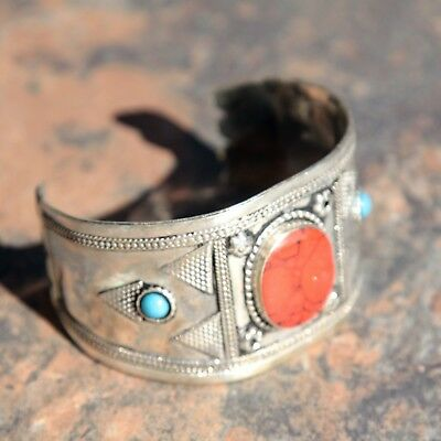 BRACELET (1pc) Turkman Tribal Dance ATS Real CORAL Belly Dance 502b9