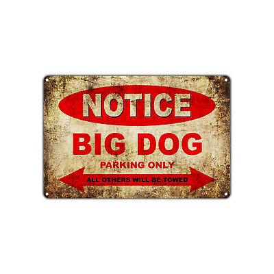 BIG DOG Motorcycles Parking Sign Vintage Retro Metal Decor Art Shop Man Cave Bar