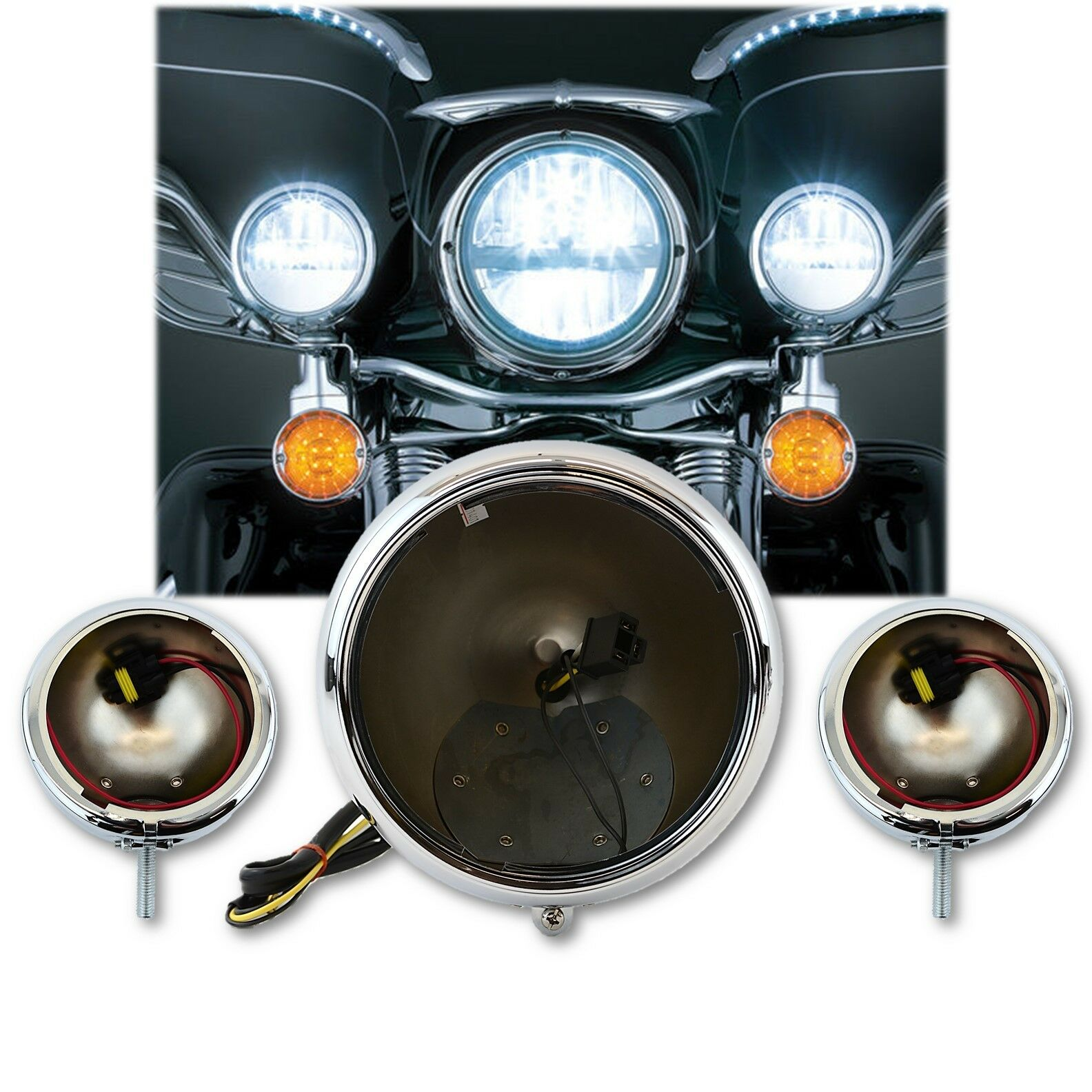 Motorcycle Passing & Headlight Fog Auxiliary Chrome Housing Buckets Set: Harley