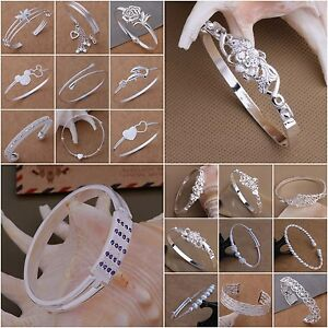 New-Wholesale-Fashion-XMAS-Gift-Jewelry-925Solid-Silver-Lady-Bangle-Bracelet-Box
