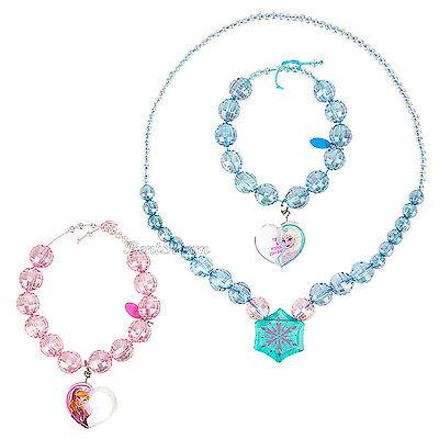 2NEW Disney Store FROZEN ELSA & ANNA 3 PC Costume Jewelry Necklace Bracelet Set