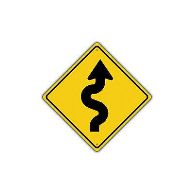 Turn Traffic Sign (Right Winding Road with Sharp Turn Symbol Metal Aluminum Novelty Traffic)