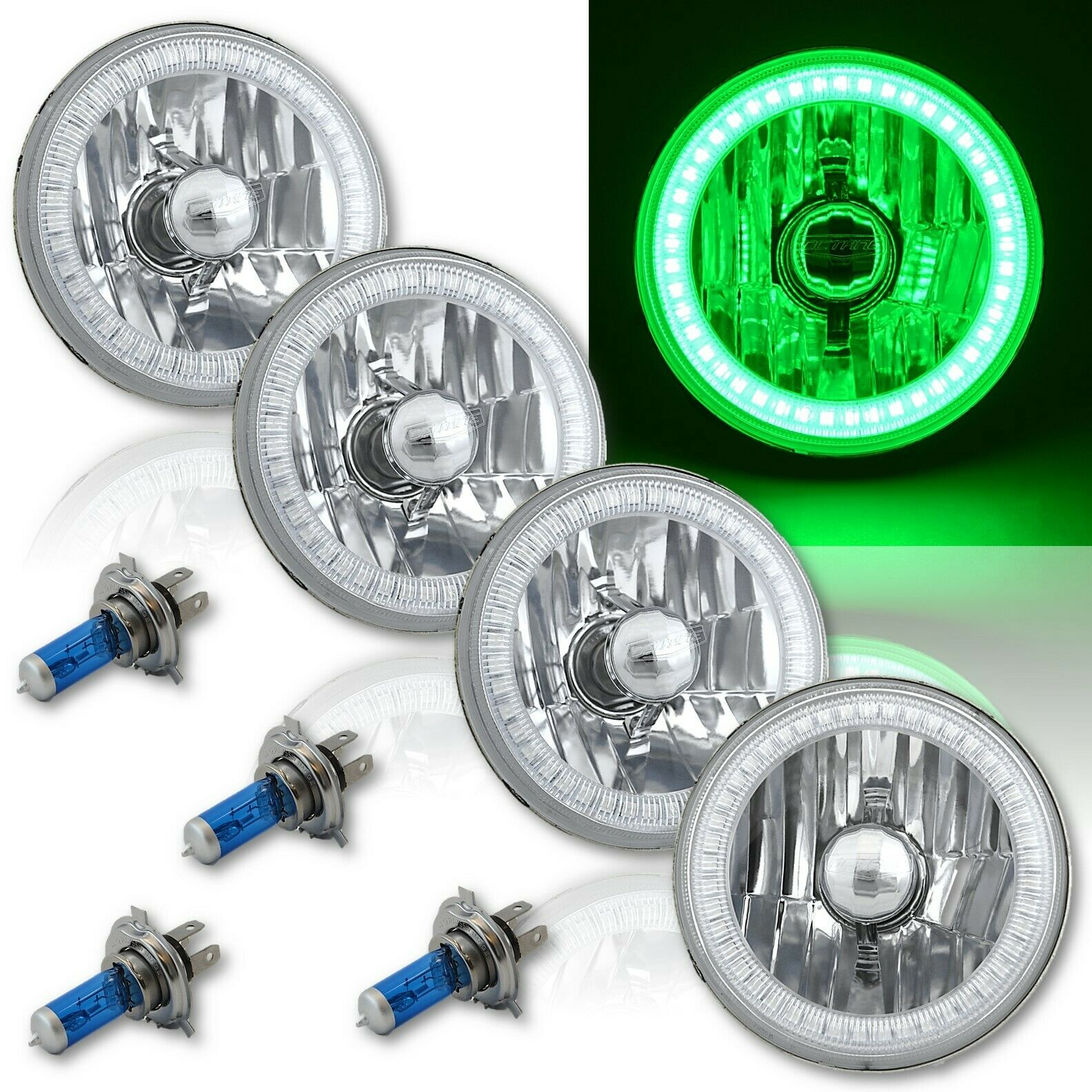 5-3/4 SMD Green LED Angel Eye Halo Crystal Clear Headlight Halogen Bulb Set of 4