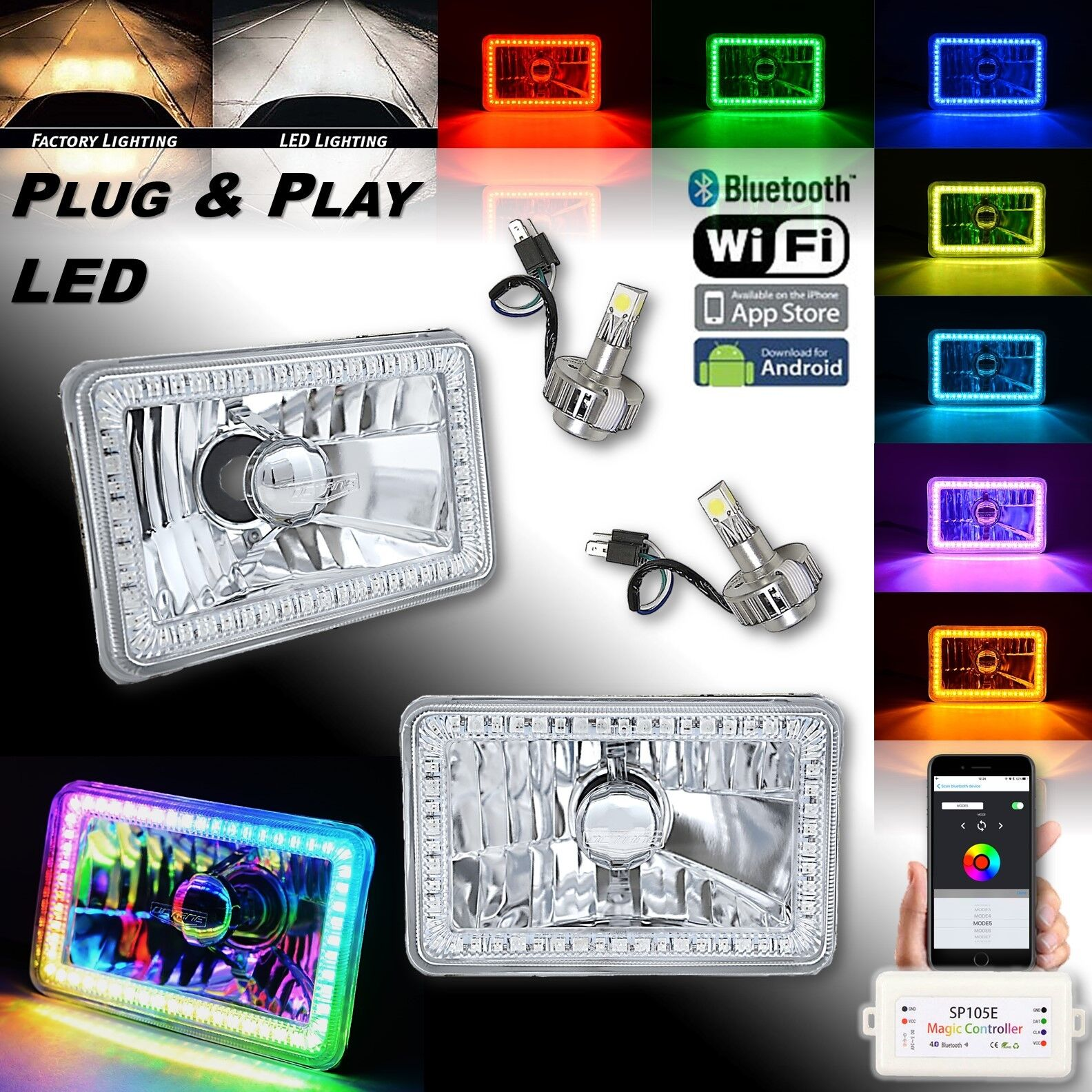 "4x6"" Bluetooth RGB SMD Color Chasing Halo Headlight 18/24w H4 LED Lamp Bulb PAIR"