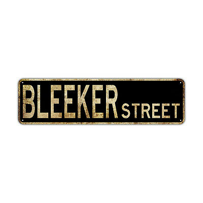 Bleeker St Street Sign Rustic Vintage Retro Metal Decor Wall Shop Man Cave Bar