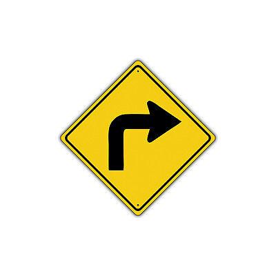 Turn Traffic Sign (Right Turn with Sharp Turn Symbol Road Metal Aluminum Novelty Traffic Sign)