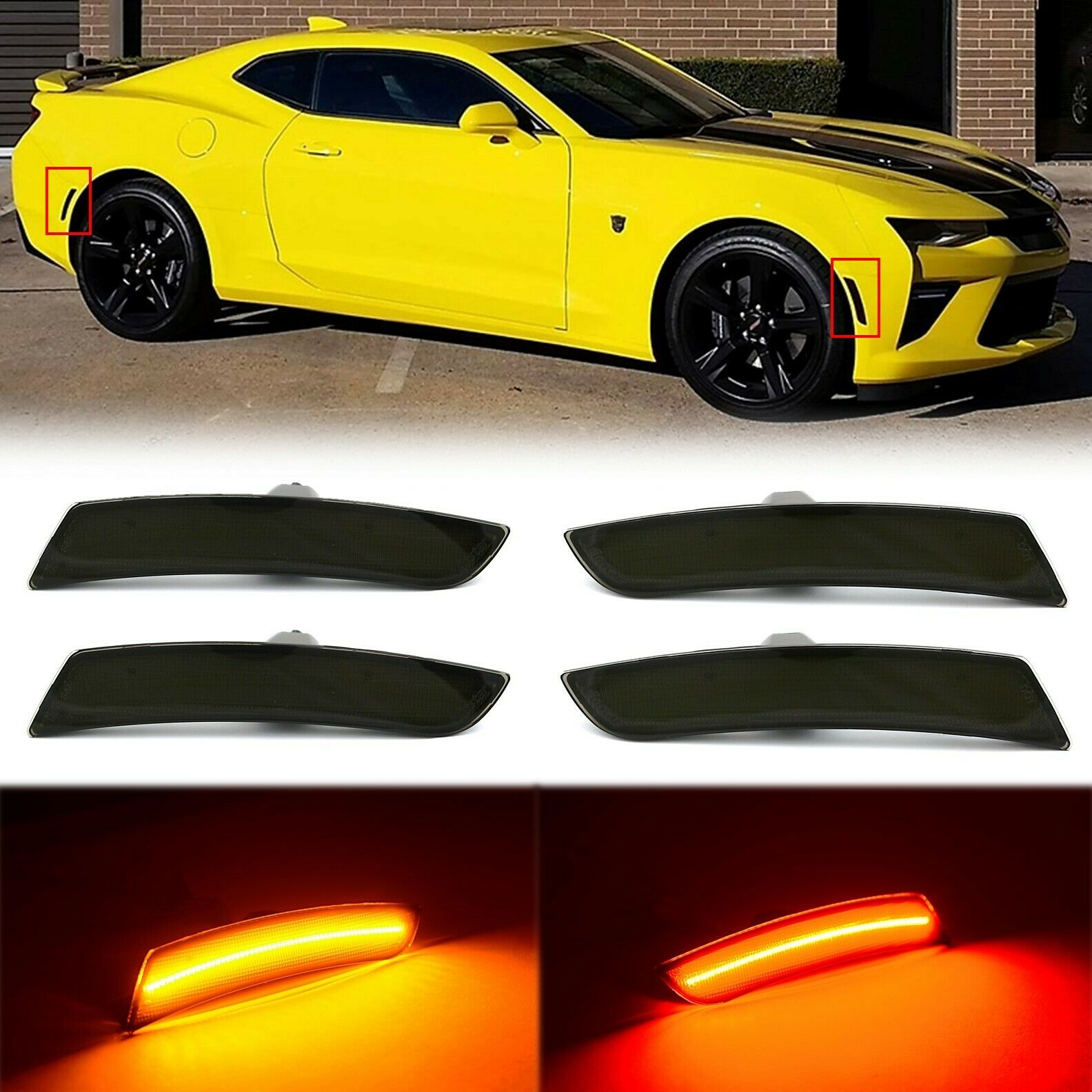 Red Amber LED Side Marker Smoked Light Lens Set Fits: 16-17-18-19 Chevy Camaro