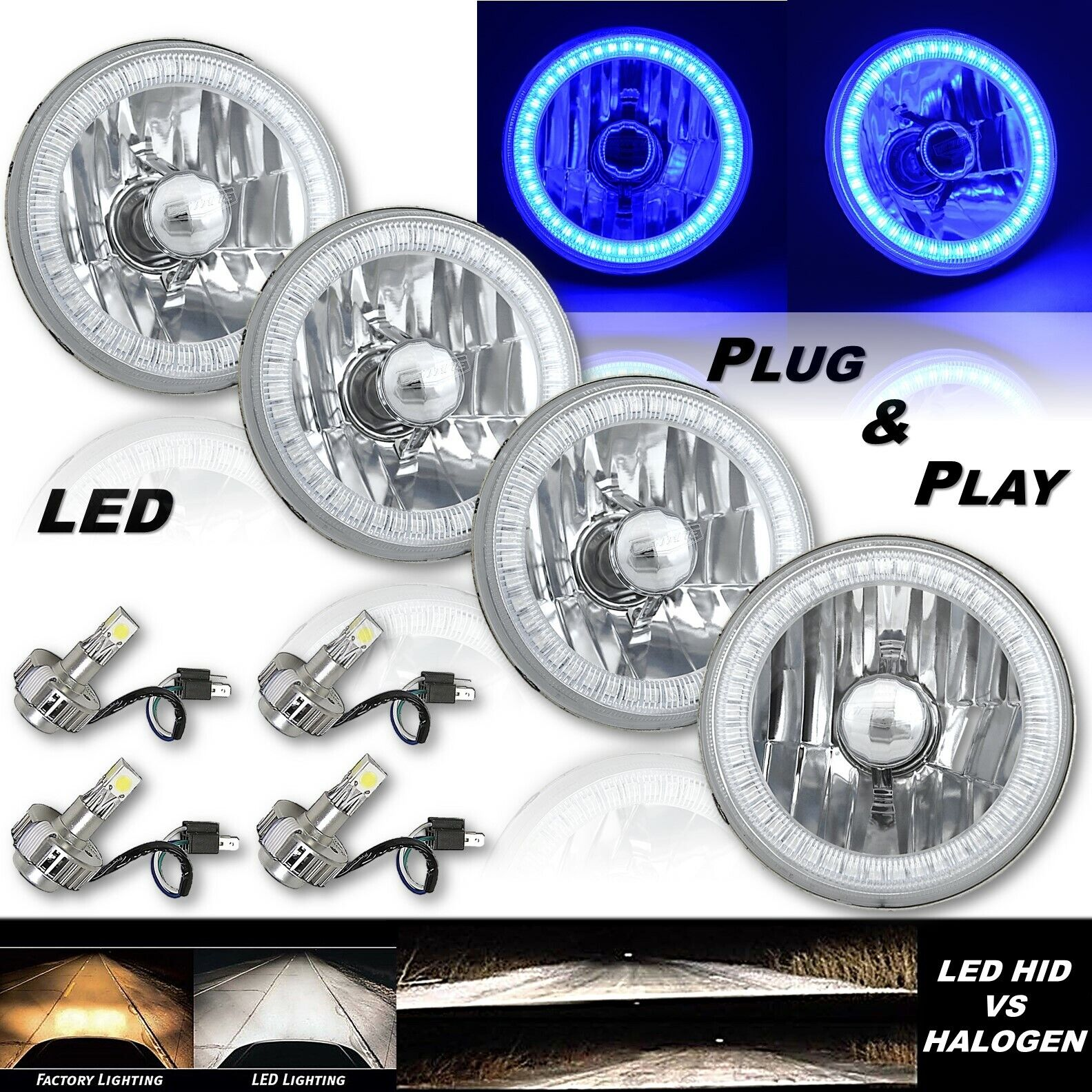"5-3/4"" Blue SMD LED Halo Angel Eye Crystal Clear Headlamp & 6k LED Bulb Set of 4"
