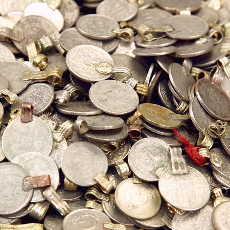 100 real COINS Tribal Belly Dance Kuchi Tribe SMALL ((standard unpolished))