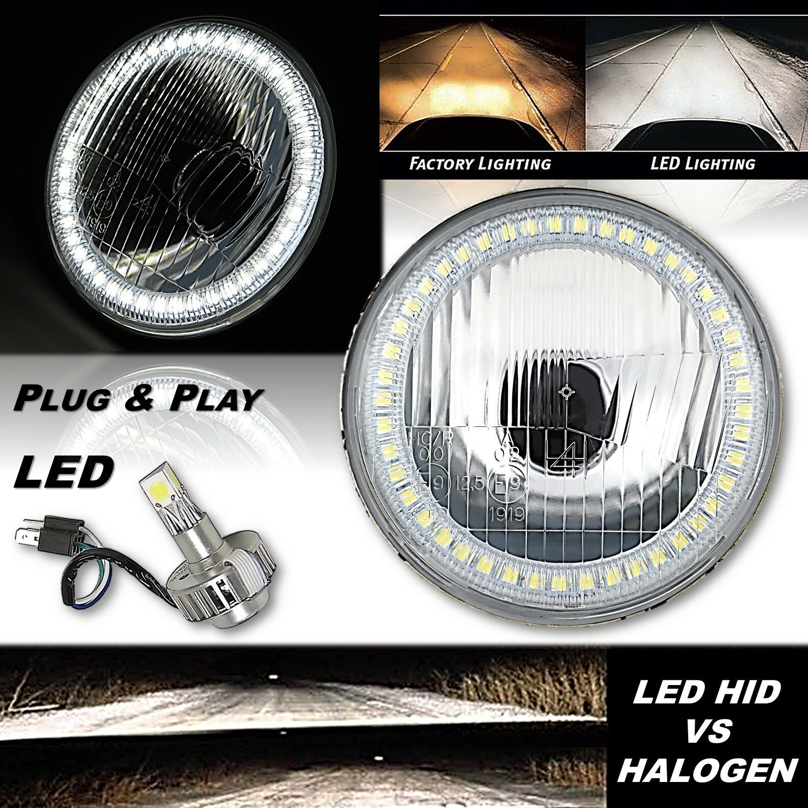 "5-3/4"" H5006 H5001 Stock SMD White Halo H4 Headlight 18/24w LED Light Bulb EACH"