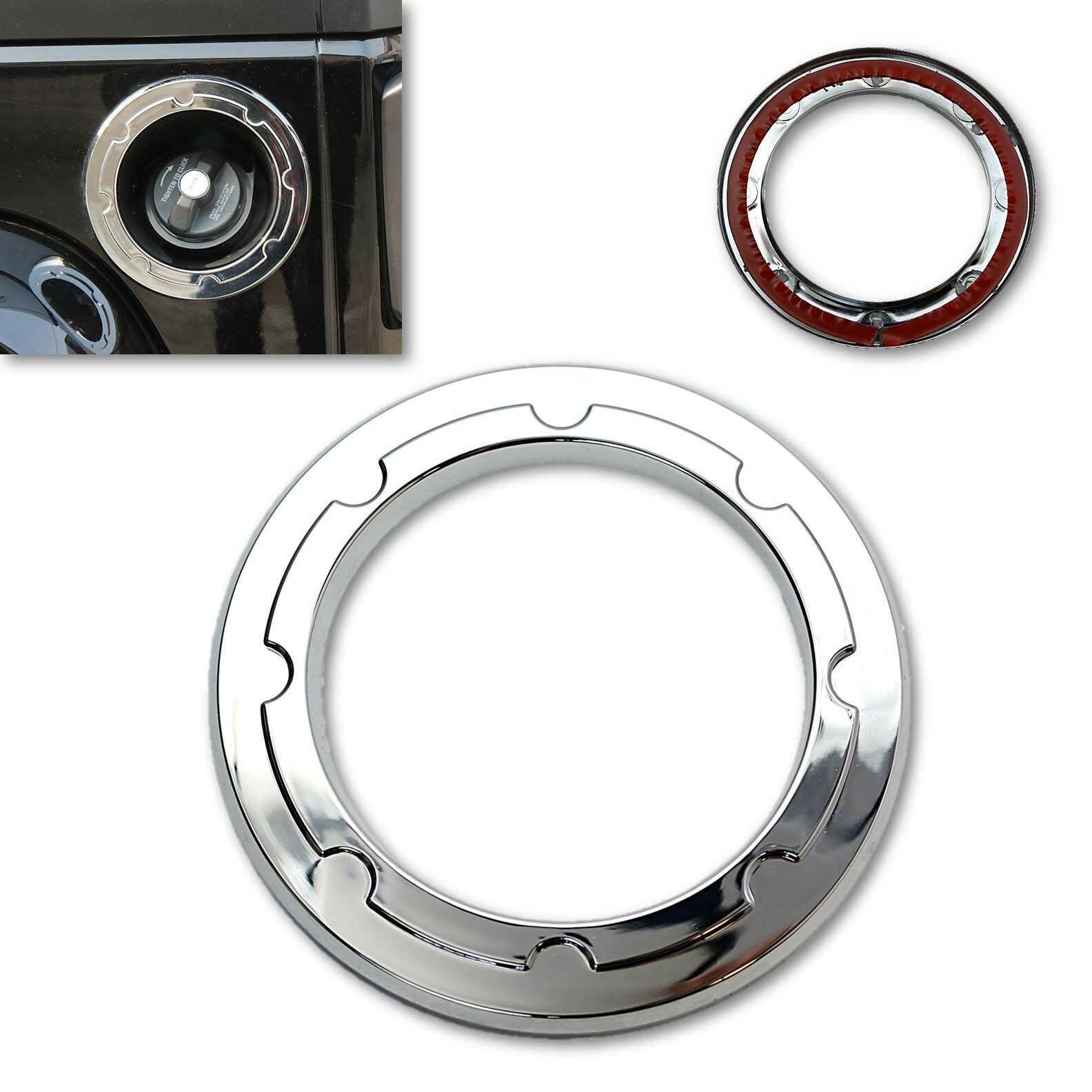 2/4 Door Chrome Filler Tank Gas Cap Door Trim Ring For 2007-2017 Jeep Wrangler