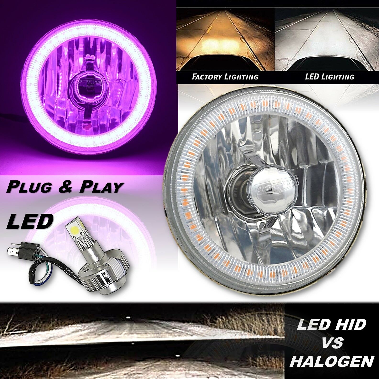 "5-3/4"" H5006 H5001 Crystal SMD Purple Halo H4 Headlight w/ 18/24w LED Bulb EACH"