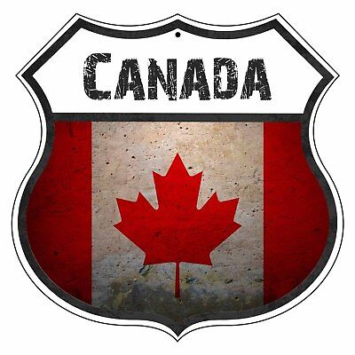 CANADA Country Vintage Flag Novelty Highway Shield Metal Sign