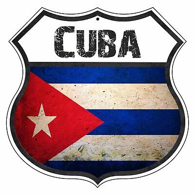 Cuba Country Flag Novelty Highway Shield Man Cave Aluminum Metal Sign](Cuba Sign)