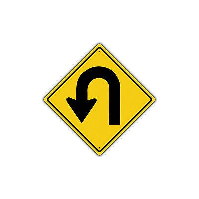 Turn Traffic Sign (Left U Turn Symbol Road Metal Aluminum Novelty Traffic Control Sign)