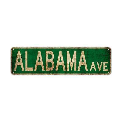 Alabama Ave Street Sign Rustic Vintage Retro Metal Decor Wall Shop Man Cave Bar