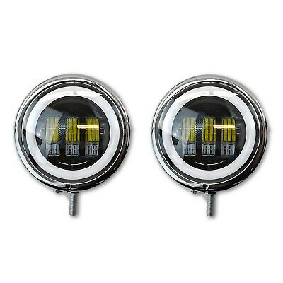 Moto Passing Auxiliary Light Chrome Housing Buckets w/ Black LED White Halo Pair