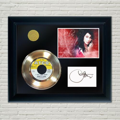 Cher Framed 45 Gold Record Reproduction Signature Display