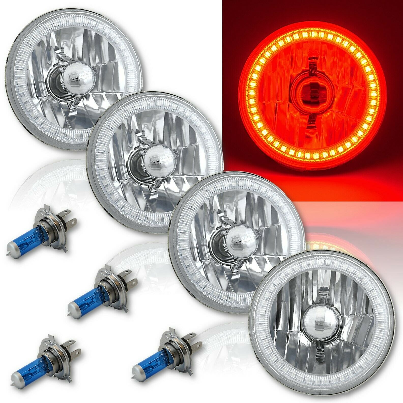 5-3//4 White SMD LED Halo Halogen Light Bulb Headlight Angel Eye Crystal Clear Pr