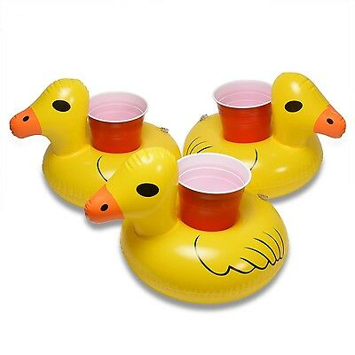 GoFloats Inflatable Duck Drink Float Pool Party Beverage Holder, Bottles & Cups (Inflatable Duck)