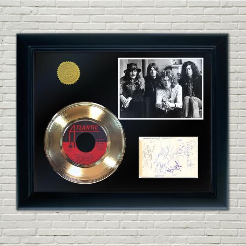 Led Zeppelin Framed 45 Gold Record Reproduction Signature Display