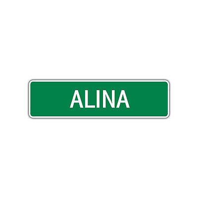 Alina Girls Name Letter Printed Label Wall Art Decor Novelty Aluminum Metal Sign