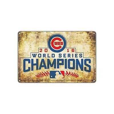 Chicago Cubs 2016 World Series Champions Vintage Retro Metal Sign Decor Art Bar
