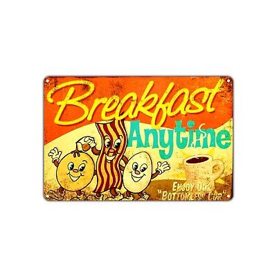 Breakfast Anytime Vintage Retro Metal Sign Decor Art Shop Man Cave Bar