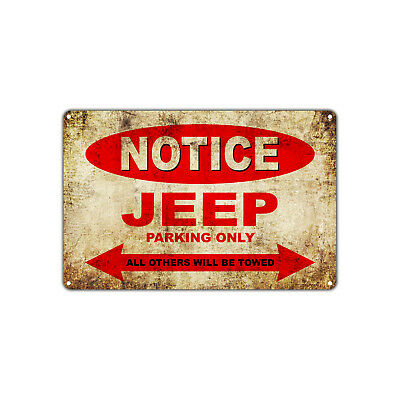 Jeep Cars Parking Sign Vintage Retro Metal Decor Art Shop Man Cave Bar