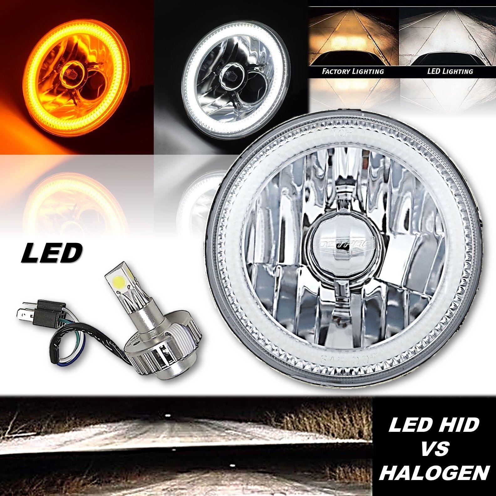 5-3//4 SMD White LED Halo Halogen Bulb Metal Headlight Angel Eye Clear Set Of 4