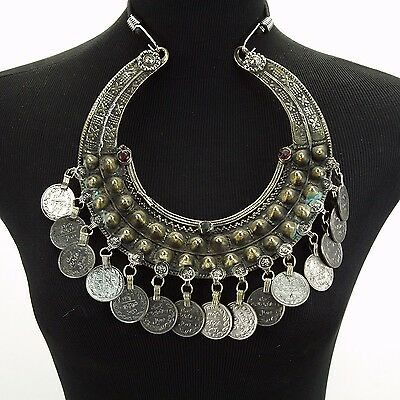 Belly Dance ATS Tribal Crescent NECKLACE Kuchi Afghani 810b2