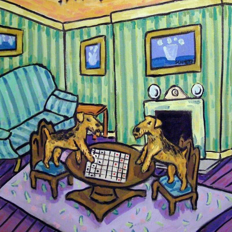 airedale terrier playing checkers chess dog art tile coaster gift modern