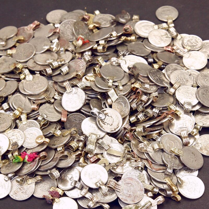 50 real COINS Tribal Belly Dance Kuchi Tribe SMALL ((polished))
