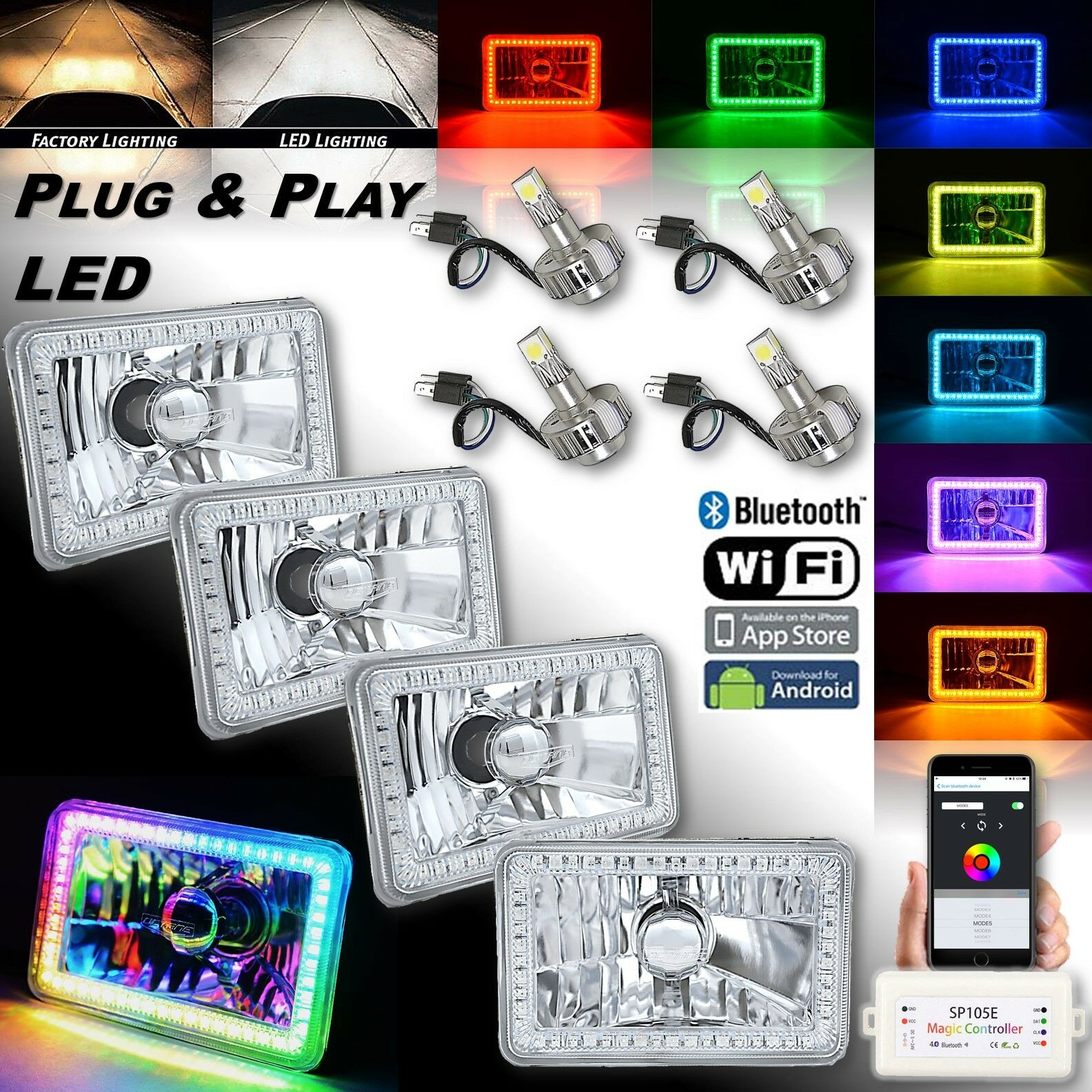 "4x6"" Bluetooth RGB SMD LED Color Chasing Halo Headlight 18/24w LED Lamp Bulb Set"