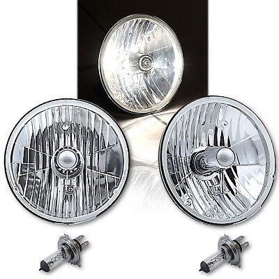 "7"" Crystal Glass/Metal H4 Headlight 60/55 Halogen Clear Light Bulb Headlamp Pair"