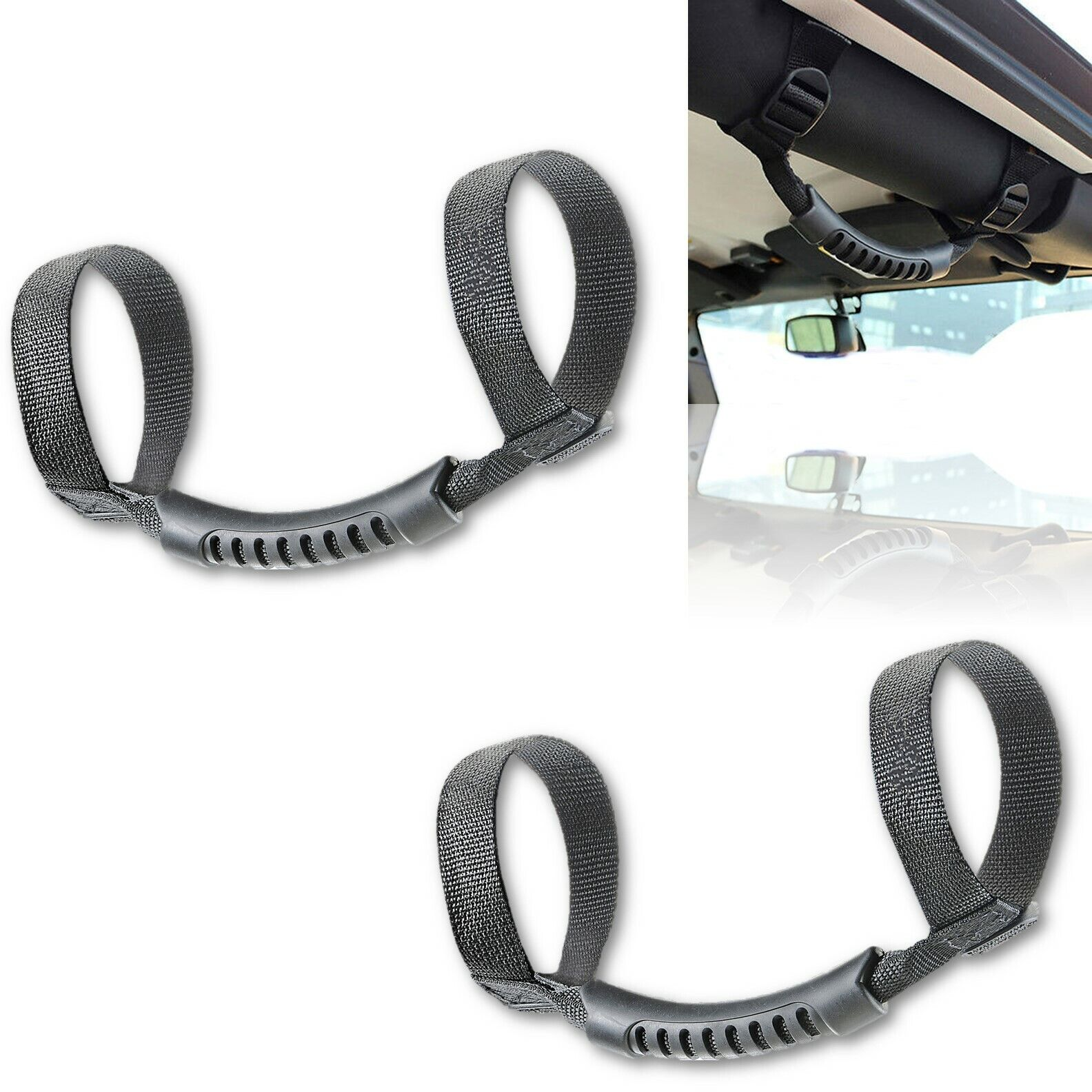 Roll Cage Door Bar Strap Grab Handle Pair For 1987-2017 Jeep Wrangler YJ TJ JK