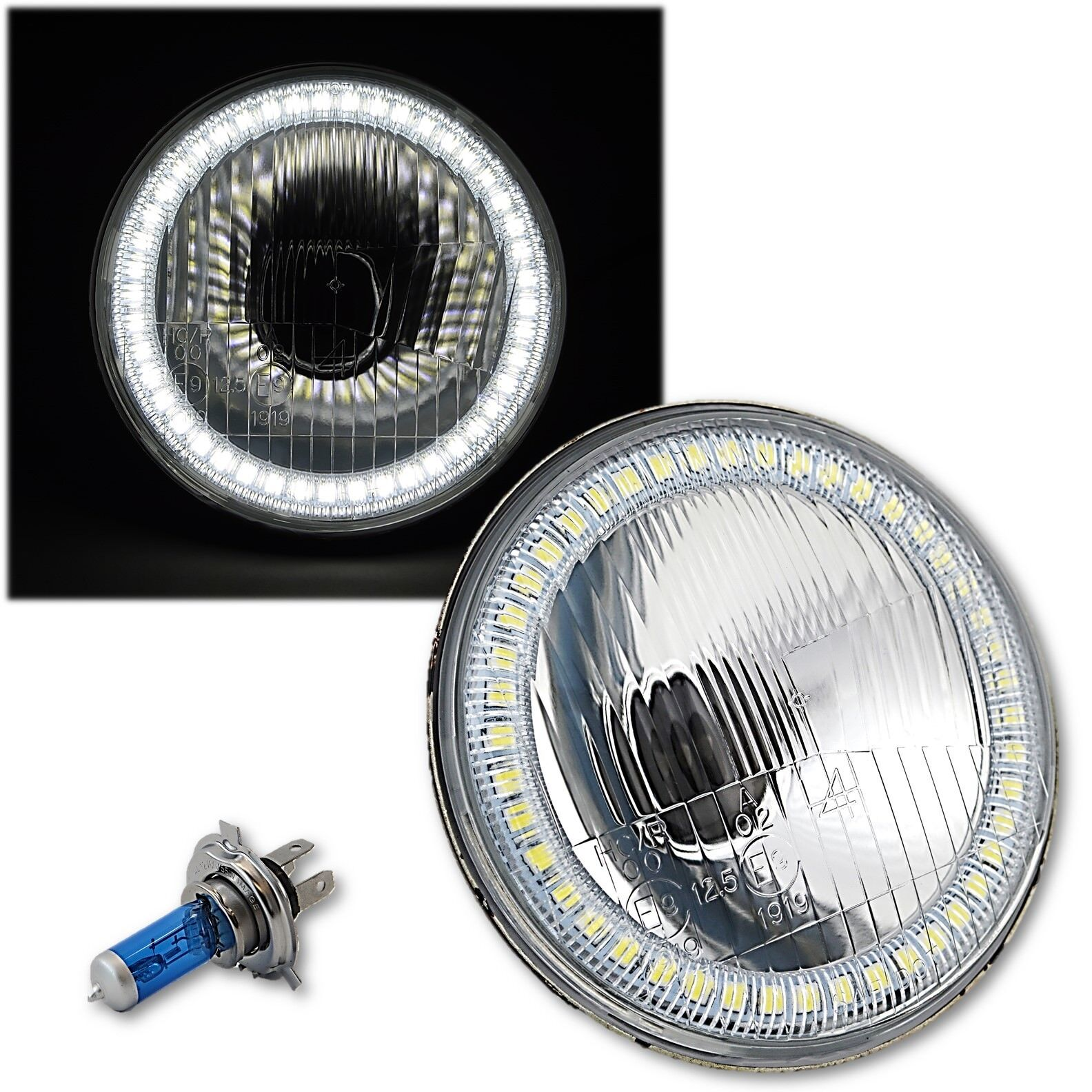 "5-3/4"" Stock Style H4 Light Bulb Headlight w/ White SMD LED Angel Eye Halo EACH"