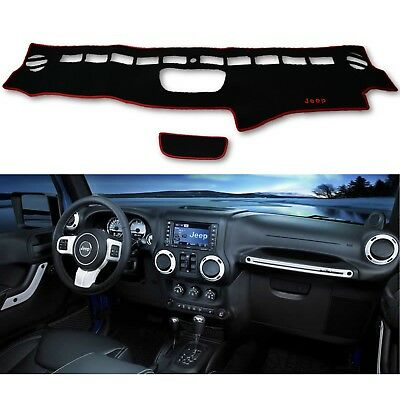 Front Dash Sunvisor Shade Pad Mat Cover Red Black Fits: 07-17 Jeep Wrangler